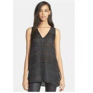Vince Textured Linen Silk Sleeveless Tunic Top XS
